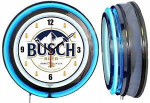 "Busch Beer 19"" Double Neon Clock Blue Neon Man Cave Bar Beer Mug Numbers V2"