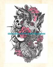 "US Seller- fake realistic tattoos skull rose 8.25"" large arm tattoo temporary"