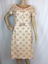 VTG '50s? Fashionmaker Original Pink & Cream Lace Dress Bows and Buttons Sz M