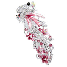Pink Vintage Crystal Rhinestone Peacock Barrettes Hairpin Hair Clip Gift