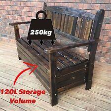 250KG Capacity Wooden Storage Bench Outdoor 2-Seat Chest Garden Chair Furniture