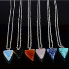 Opal Rose Amethyst Quartz Triangle Turquoise Natural Gem Stone Pendants Necklace