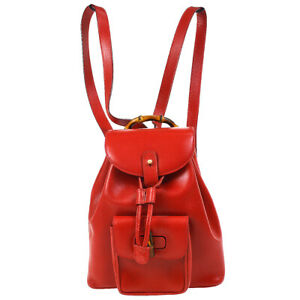 GUCCI Bamboo Line Backpack Hand Bag Red Leather Italy 003.1705.0030 AK38179b