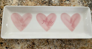 NIB POTTERY BARN Serving Dish Cookie Tray Pink Heart Love