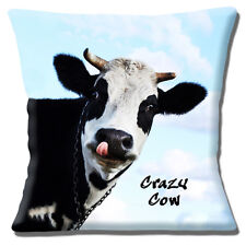 "Funny Novelty Crazy Cow 16""x16"" 40cm Cushion Cover Black White Photo Message"