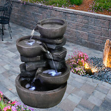 Layered Stones Indoor Outdoor Polyresin Water Fountain LED Lights Garden Statues
