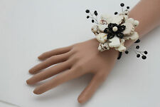 Women Bracelet White Bead Flower Charm Black Elastic Cuff Band Fashion Jewelry