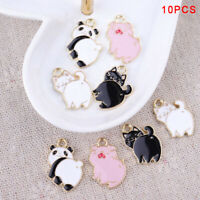 10Pcs/Lot Enamel Alloy Pig Cat Panda Charms Pendants DIY Jewelry Findings TLP