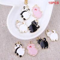 10Pcs/Lot Enamel Alloy Pig Cat Panda Charms Pendants DIY Jewelry Findings CrafES