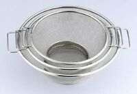 Stainless Steel Strainer 3 Pieces Set, 7, 8,10 Inches, Silver