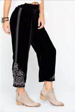 NWT Johnny Was Hirsch Velvet Embroidered Crop Pants M Black Silk Blend
