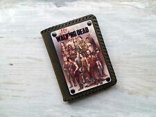 Leather Minimalist Wallet THE WALKING DEAD Print Bifold Slim Card Wallet