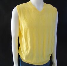 Preppy Golf Sweater Vest T. Harris London Mens Yellow Cotton Sz M Made in Italy