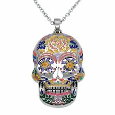 The Floral Sugar Skull Necklace Day of the Dead Pendant Jewelry By Controse
