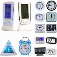 Digital Electronic Desk Alarm Clock Battery Operated Bedside LED Backlight Light