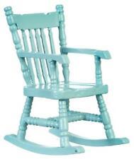 Dolls House Soft Blue Rocking Chair Rocker 1:12 Miniature Nursery Furniture