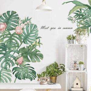 Tropical Green Leaf Flowers PVC Vinyl Removable Nursery Mural Decal Wall Sticker