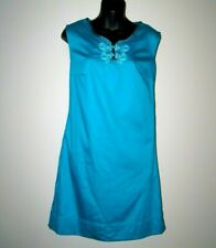 Calypso St. Barth Target Sz 2 Teal Shift Dress with pockets frog closure Cotton