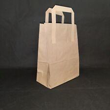 100 MEDIUM BROWN SOS KRAFT PAPER CARRIER BAGS WITH HANDLES