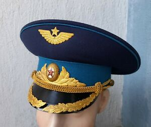 Casquette AVIATION D'OFFICIER de PARADE russe Soviétique URSS t.56 1960-70 N°300
