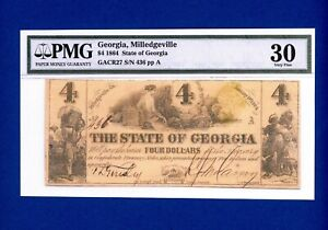 1864 $4 State of Georgia Milledgeville S/N 436  PMG 30 VERY FINE
