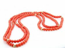 Gem Stone Necklace Red Carnelian with 14K Yellow Gold Beads 32""