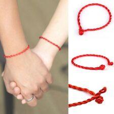 2 Pcs Women Men Hand Braided Lucky Red String Rope Cord Lover Bracelet Bangle