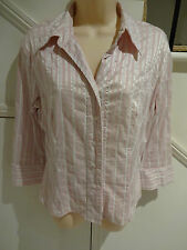 LADIES JACQUI-E SIZE 12 STUNNING PINK SILVER STRIP BLOUSE