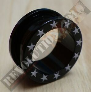 Acrylic Flesh Tunnel with White Stars (Choose Size)