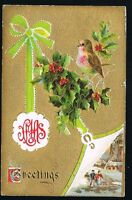 Vintage 1911 Xmas Greetings Postcard