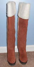 Kelsi Dagger Rozelle Cognac Suede Fur Knee High Boots Size 6.5 M NIB