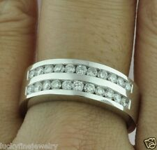 1.40 ct 14k Solid White Gold mens Channel Set Natural Diamond Ring 2 Row 8.7gram