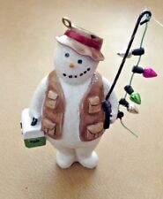 """Vintage Snowman W/Tackle Box & Fishing Pole Christmas Ornament"""
