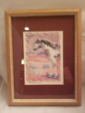 P Marks Horse Watercolor Framed Picture