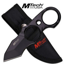 Mtech Black Full Tang Finger Ring Tactical Combat Rescue Tanto Fixed Blade Knife