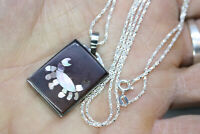 """Vintage 1"""" Inlaid MOP Crab Pendant 925 Sterling Silver Womens Necklace 24"""" Chain"""