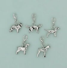 Dog Cat Charms with Lobster Clasps set of 5 Silver Plated Pewter Pendants