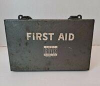 Vtg Davis Metal Box First Aid Kit 1940s-1950s WWII-Korean Era (Box Is Empty)