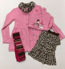 Gymboree EUC 10 Parisian Chic Sweater Leopard Tiered Skirt Top Tights Set Lot