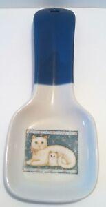 OTAGIRI White Cats Spoon Rest with Blue Handle Elizabeth King Brown Art