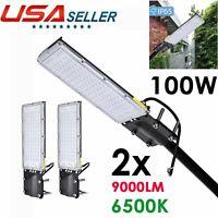 2X 100W LED Road Street Flood Light Garden Spot Lamp Head Outdoor Yard White