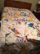 Sesame Street Soap Box Derby Twin Quilt Blanket Comforter Sheets,Vintage 80's