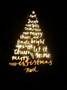 """16""""Back Lighted Christmas Tree For Wall or Free Standing Unique Faux Wood Sleigh"""