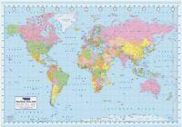 Géant World Carte Gpw6001 Montrant Pays & Time Zones Mers Oceans 140cm X 100cm
