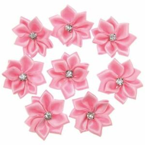 Pink Small Satin Flowers Fabric Rhinestone Flowers Appliques Sewing Decorations