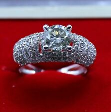 Round Cut High Dome Engagement Rings Band Prong Set 925 Sterling Silver