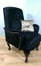 Cusom Made Small Bedroom Armchair Black Crushed Velvet FREE UK DELIVERY!
