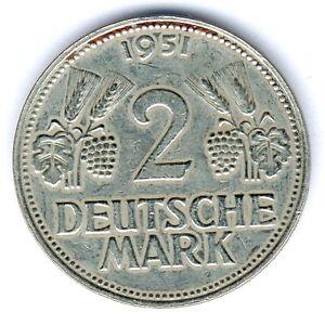 """BRD 2 Mark 1951 D. """"Ähren"""" Jaeger 386 ss"""