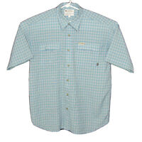 Columbia GRT Mens Button Down Short Sleeve Shirt Size Large Blue White Casual