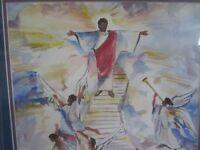 Harold Ellison (1935-?)signed original 1994 Stairway to Heaven Jesus watercolor!